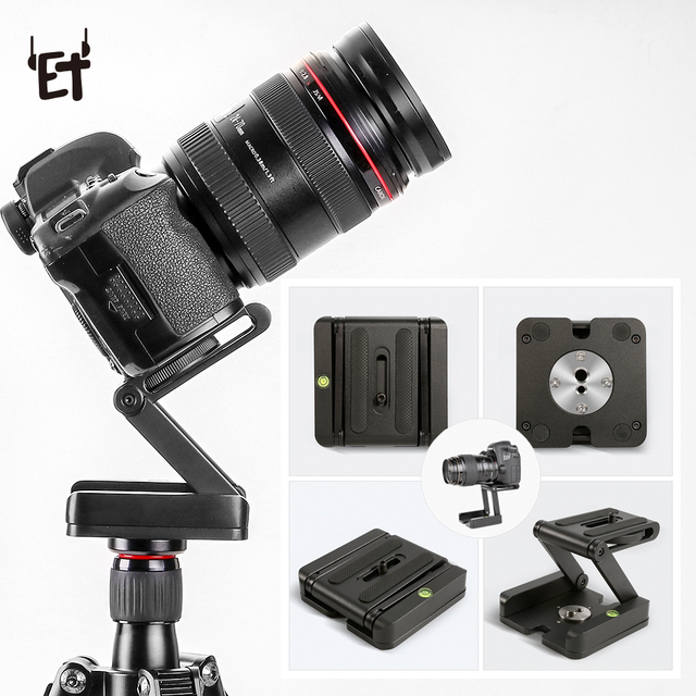 US $15 16 26% OFF ET Portable Z Flex Tilt Head DSLR Camera Folding Bracket  Aluminum Alloy Quick Release Plate Stand Desk Mount DVR Camera Holder-in