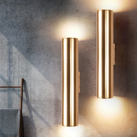북유럽 골드 led 벽 램프 바 호텔 침실 복도 조명 식당 로프트 led 벽 조명 발코니 전등 무료 배송