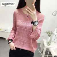 2019 Autumn Female Knitwear Loose Thin Long Sleeves Women Sweaters Simple Fashion Hollow-out O-neck Knitted Sweater