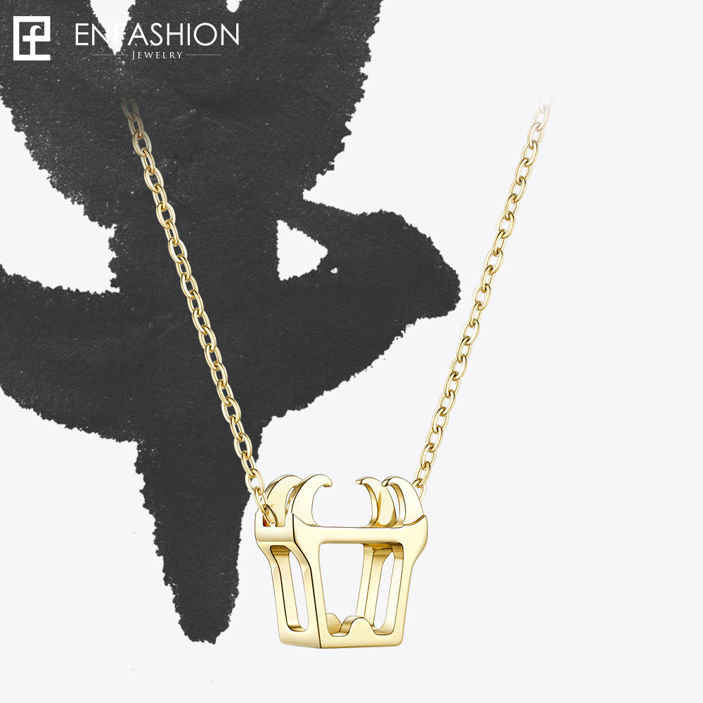 Enfashion Chinese Zodiac OX Necklace Bull Head Stainless Steel Chain Pendant Womens Necklaces Jewelry Ras De Cou PFY183004-OX купить в Москве 2019