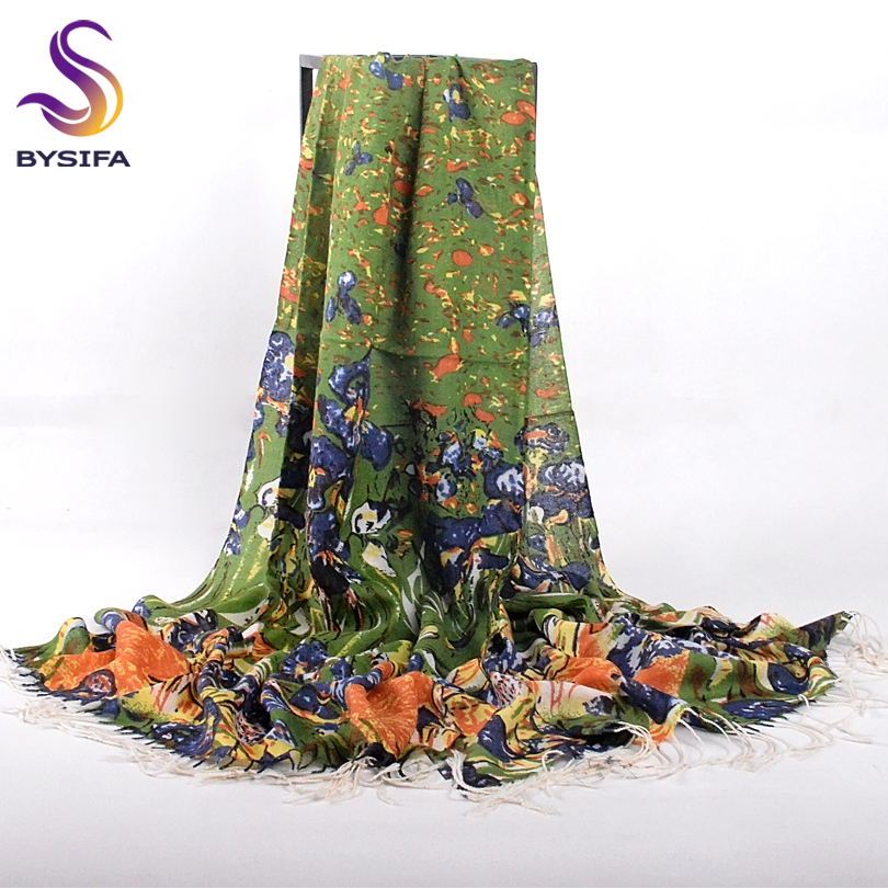 [BYSIFA] Women Pure Wool Scarves Wraps New Oil Painting Style Winter Ladies Green Long Scarves Pashmina Brand Tassel Scarf Shawl