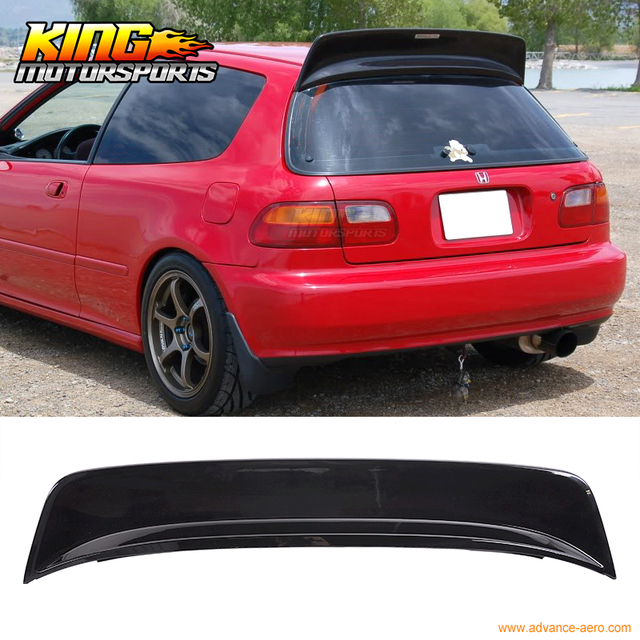 Fit For 92 95 Civic EG 3Dr Hatchback ABS BYS Highkick Painted Glossy Black Roof Spoiler