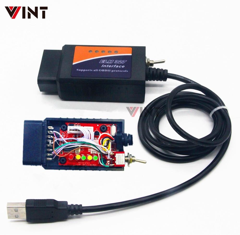 VINT TT55501 ELM327 USB V1.5 modified for Ford Forscan ELMconfig  CH340 25K80 chip HS CAN / MS CAN Free Shippingelm327 usb v1.5elm327  usbelm327 v1.5 usb -