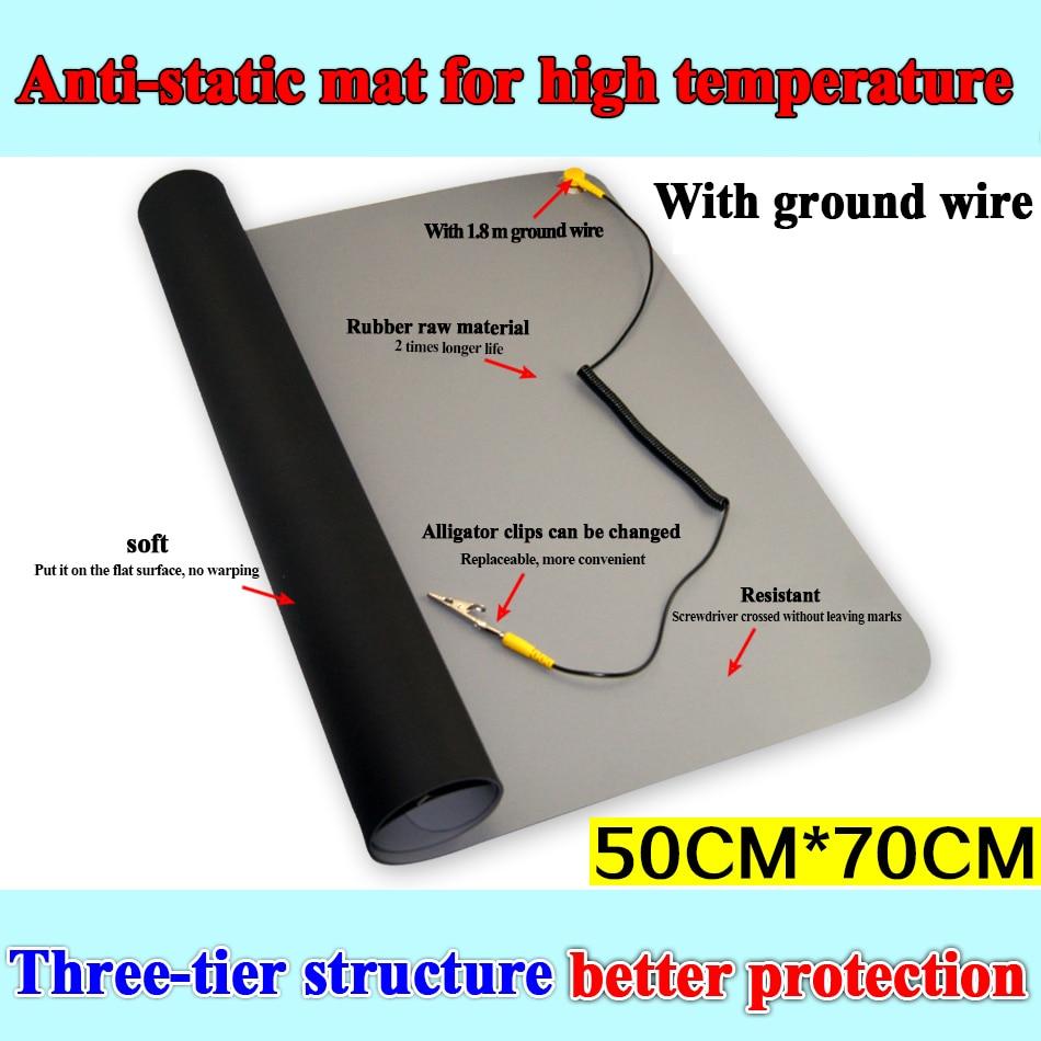 700*500 Black ESD Anti-static Desk Mat Maintainance Insulator Pad+Ground Wire+ESD Wrist For Mobile PC Repair Antistatic Bla