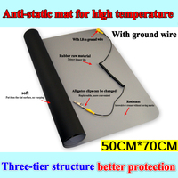 700*500 Black ESD Anti static desk mat maintainance insulator pad+Ground Wire+ESD Wrist for Mobile PC Repair Antistatic Bla