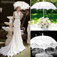 Feestigo Branco Umbrella Parasol Do Laço Do Vintage Para Lady Vitoriana Costume Foto Props Decoração Do Casamento de Casamento Nupcial Da Dama de Honra