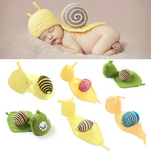 Handmade Wool Snail Soft Newborn Baby Photography Props Baby Hat Baby Cap Baby Girl/Boy Clothes Newborn Crochet Outfits crochet newborn baby photography clothes set