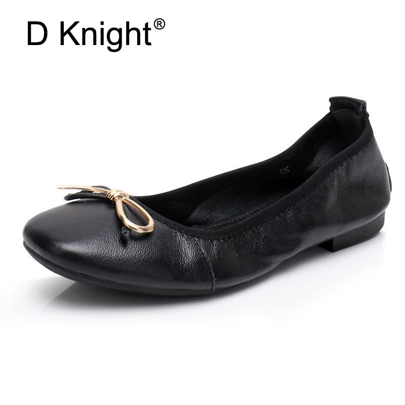D Knight Plus Size Shoe Woman Flat Genuine Leather Women Brand Casual Shoes Loafers Fashion Bowtie Flats Moccasins Ladies Shoes 34 43 big small size new 2016 summer fashion casual shoes moccasins bottom shoe platform flat for women s loafers ladies