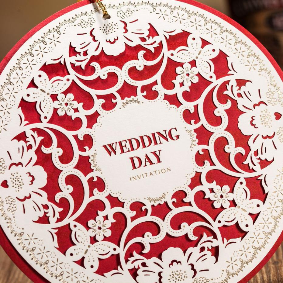 1 PCS Sample Unique Round Shaped Laser Cut Wedding Invitation ...
