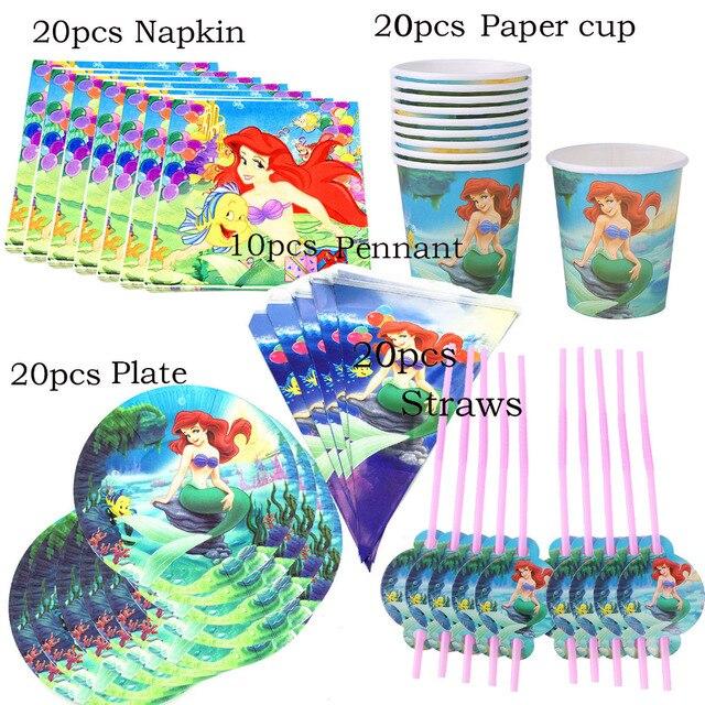 81 piezas 20 persona feliz cumpleaños sirena Ariel niñas bebé ducha partido decoración, banner de tela de mesa pajitas taza placas proveedor