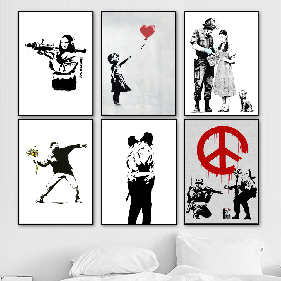 Banksy Graffiti Canvas Art Prints Kiss Peace Paintings wall art Poster Pop Decoration Pictures Wall Decorative Framed freeship