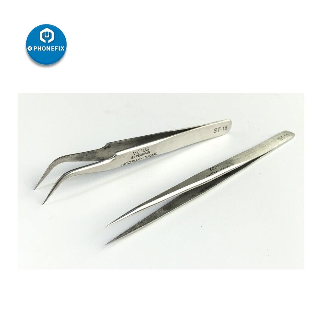 PHONEFIX Vetus Precision Tweezers ESD Anti-acid Stainless Steel Eyelash Extension Tweezers Repair Electronics Phone Maintenance