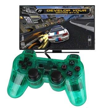 Color transparente con cable controlador para PS2 Joystick Dual vibración Gamepad Joypad a través del Color para Playstation 2 controlador