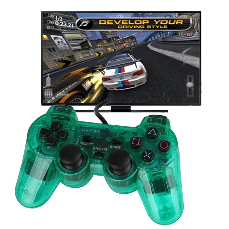все цены на Transparent Color Wired Controller For PS2 Dual Vibration Joystick Gamepad Joypad Through Color For Playstation 2 Controller