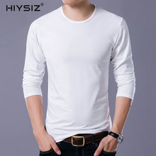 HIYSIZ  Men T-Shirt 2019 Contracted Stylish Casual Streetwear Fashion Trend Long Sleeves O-Neck Pullover Autumn Winer LT018