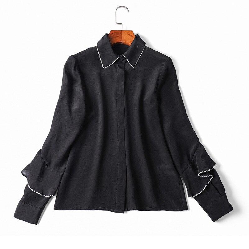 100% Blouse en soie nationale pour femmes 2019 printemps été mode bureau Blouse dames couleur bloc couture chemise élégante Feminina