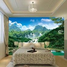 3D Wall Mural Wallpaper Nature Landscape Green Mountain Waterfall