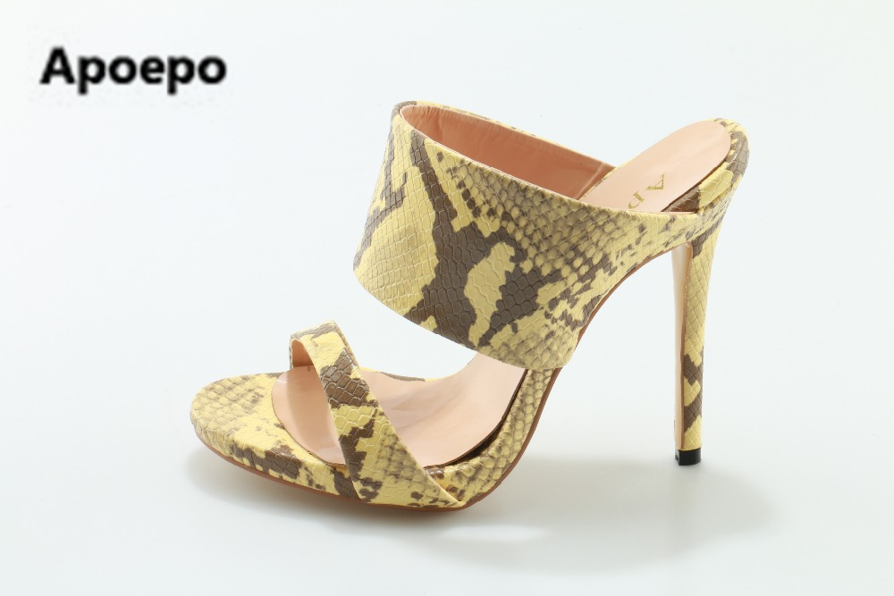 Фотография Apoepo brand 2017 zapatos mujer slippers sexy Serpentine shoes women high heels sandals gladiator slippers women big size 35-43