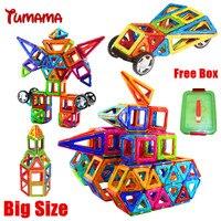 Tumama 큰 크기 자기 빌딩 블록 46/24 PCS 빌딩 자기 디자이너 DIY 3D 벽돌 교육 학습 장난