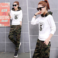 2017 Spring Autum Womens Hoody Sweatshirt Pants Set Camouflage Casual Suit Two-Piece Leisure Clothes Hoodies Outfit Sport Suits