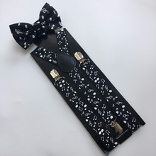 Fashion Supply Of Mens Music Bowtie  Set Version of The Print Adult Straps Three Clip Strap Suspenders