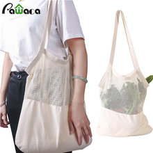 Eco friendly Reusable Mesh Bag for Vegetable Fruit Washable Natural Organic Cotton Mesh Produce Shopping Bag Produce Bags(China)