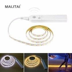 1 m 2 m 3m sem fio sensor de movimento led tira bateria energia noite luz sob a lâmpada de cama para armário, guarda-roupa, armário, escadas, corredor