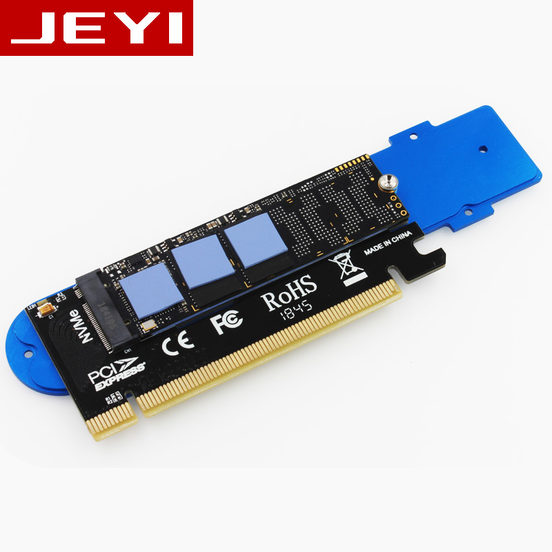 JEYI iSUB PCIE3.0 NVME Adapter x16 PCI-E Full Speed M.2 2280 aluminum sheet Thermal conductivity silicon wafer cooling 6