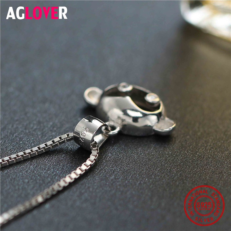 925 Sterling Silver Children Jewelry Cute White Cubic Zircon Monkey Necklaces Pendants For Girls Anti Allergic Jewelry Box in Necklaces from Jewelry Accessories