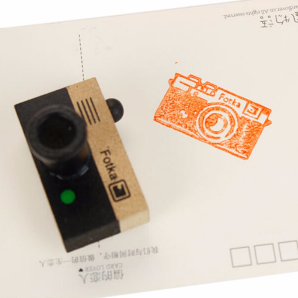 1pc Creative 2 Models 2 Colors Lovely Korea Retro DIY Stamp Mini Seal Lovely Decoration Crude Wood Photo Camera Stamp Signet in Stamps from Home Garden
