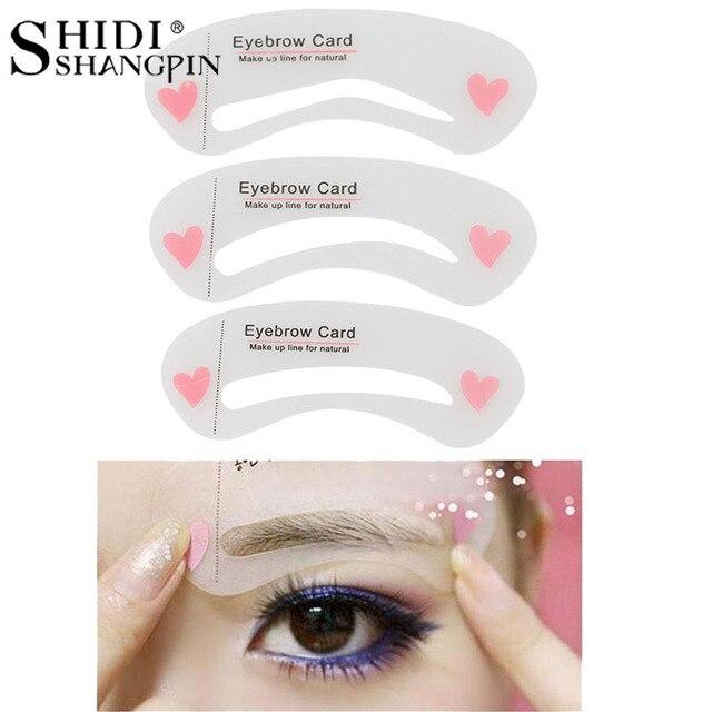 SHIDISHANGPIN 3Pcs Eyebrow Stencils Eye Brow DIY Drawing Guide Styling Shaping Grooming Template Card Makeup Tool 5