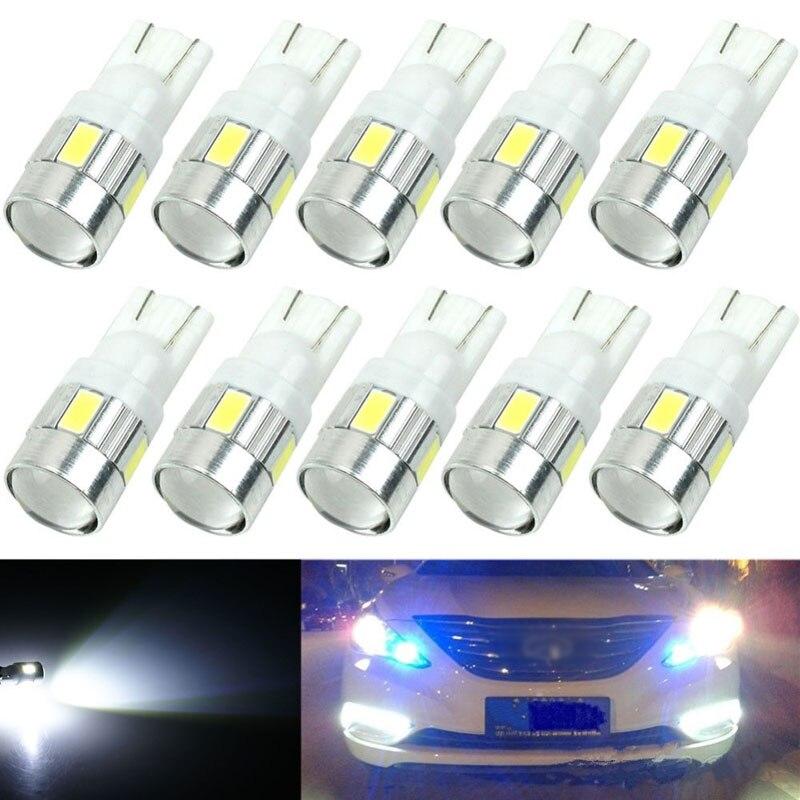 10Pcs Set T10 W5W 5630 6SMD LED Car Wedge Side Light Bulbs 168 194 192 158 White