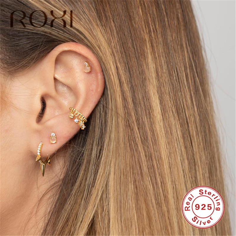 ROXI Personality Gothic Punk Stud <font><b>Earrings</b></font> <font><b>for</b></font> Women <font><b>Men</b></font> <font><b>Unisex</b></font> Rivet Spike Ear Stud Hypoallergenic 925 Sterling Silver <font><b>Earrings</b></font> image