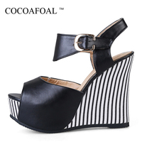 COCOAFOAL Woamn Wedges Sandals Plus Size 32 45 Pink High Heels White Wedding Shoes Black Blue