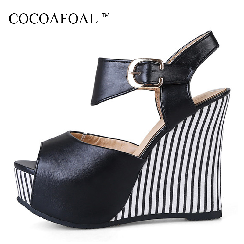 COCOAFOAL Women Wedges Sandals Plus Size 32 - 45 Pink High Heels White Wedding Shoes Black Blue Sexy Peep Toe Summer Pumps 2018 2016 summer peep toe thin thick high heels pumps with platform rhinestones buckle sandals women pu pink white blue sexy shoes