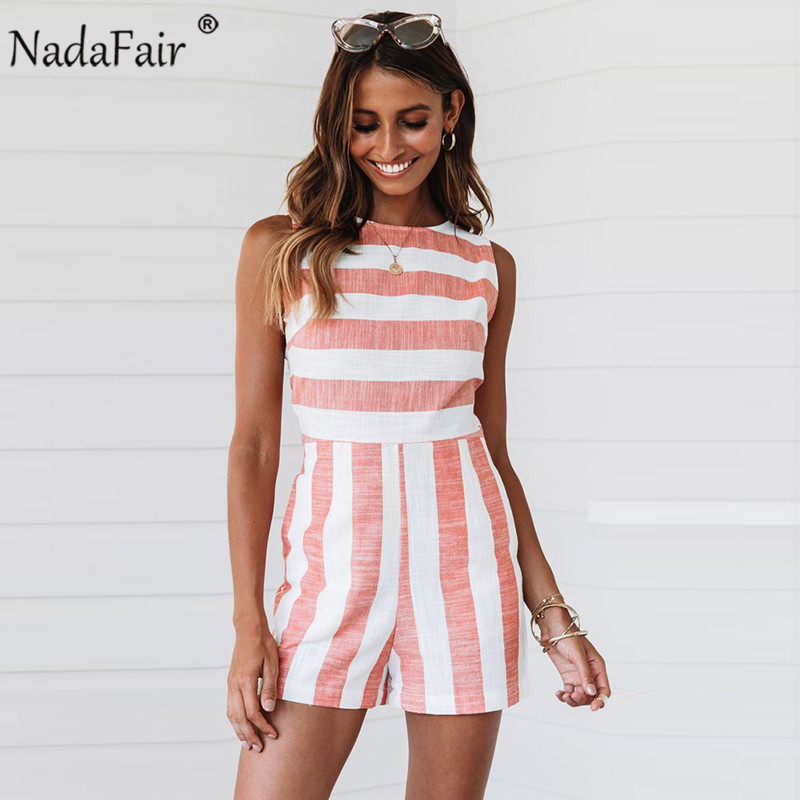Nadafair Casual Striped Playsuits Women Back Hollow Out Sexy Cotton Linen Playsuits Summer Striped Rompers Womens Jumpsuit