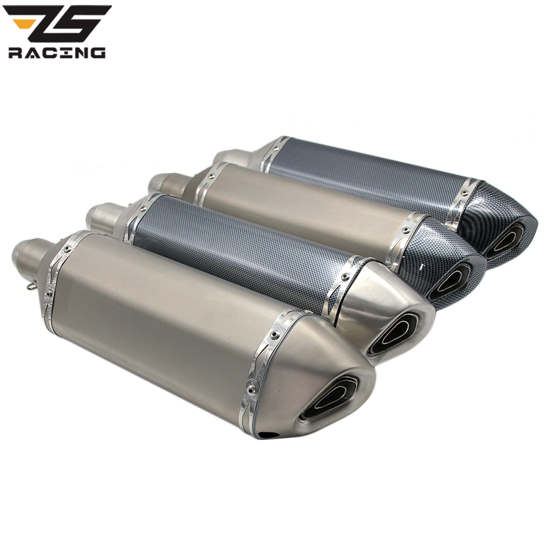 ZS-Racing Modified Big Size Motocross Yoshimura Akrapovic Motorcycle Exhaust Muffer Pipe With DB Killer Z750 TMAX DUKE CB400 CBR zs racing 51mm real carbon fiber motorcycle exhaust pipe motocross muffler with db killer cb400 cbr for kawasaki z800 z750 er6r