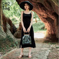 Tingfly デザイナーファッションフランスシックなヴィセクシーな Blackless ストラップミディロングスプリットパーティードレスベルベット Vestidos 新