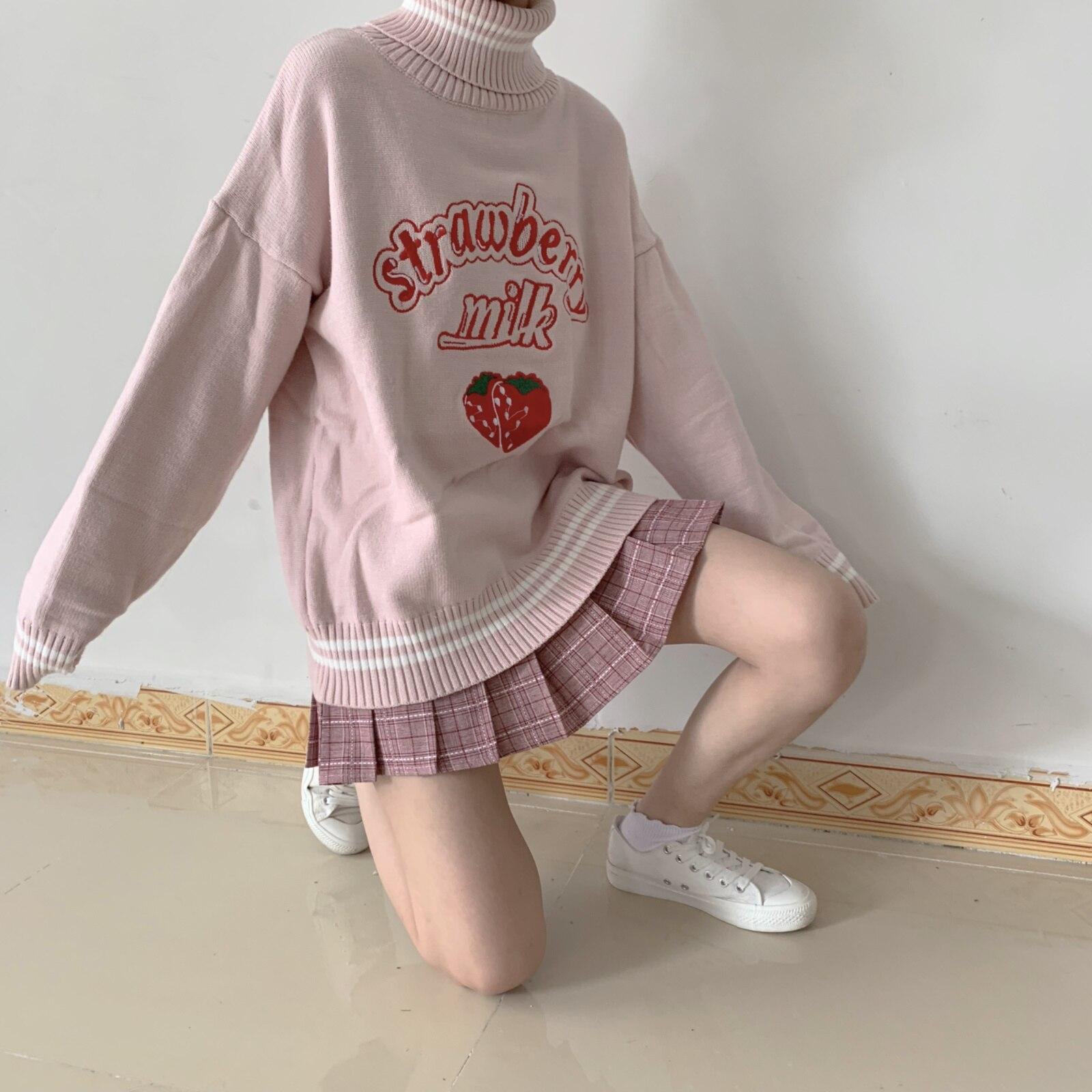 82e88dd38eb Japanese Women Vintage Sweater Turtleneck Cute Strawberry Milk ...