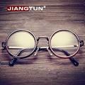 JIANGTUN Caliente Mujeres Hombres Grandes Monturas de Gafas Redondas Marco Ojo Óptico Más Nuevo Puramente Hecho A Mano de La Vendimia gafas de Cristal Liso de Moda Oculos
