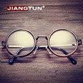 JIANGTUN Hot Mulheres Homens Big Rodada Armações de Óculos Mais Recente Puramente Feitos À Mão Do Vintage vidros do Olho Óptico Frame Moda Óculos de Vidro Liso