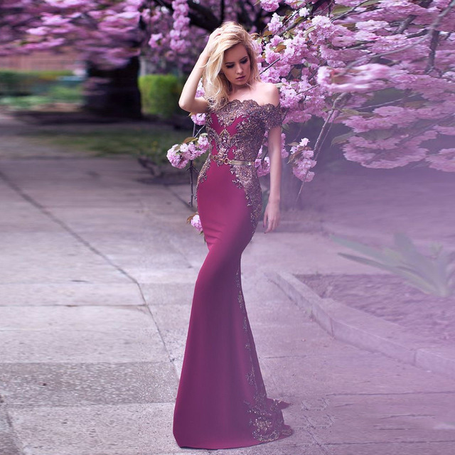 53913969bb25 Saudi Arabic Burgundy Long Mermaid Prom Gowns With Sparkle Gold Appliques Off  Shoulder Formal Party Dress 2018 Abendkleider