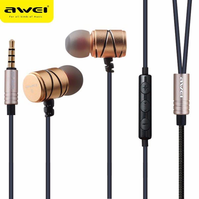 Awei ES-910TY 3.5mm Metal Earphone In Ear Wired Control Earphones With Smart Buttons Microphone For iPhone For Andriod Phones