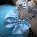 Bling Cristais Pérolas Frisado Céu Azul lantejoulas vestidos da menina de flor com arco bonito do casamento festas de aniversário vestidos de baile de tule