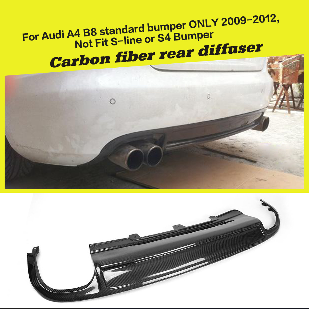 Car style carbon fiber rear bumper lip car diffuser for audi a4 b8 standard sedan only