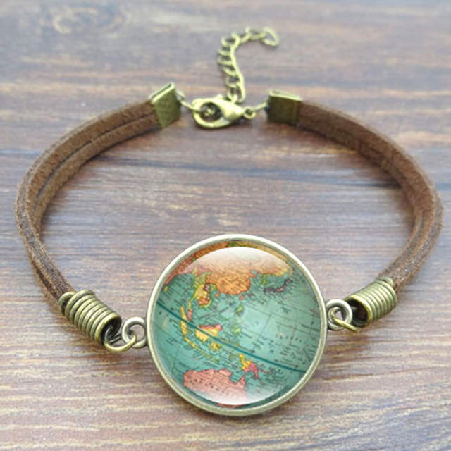 Vintage Globe Leather Bracelet World Map Art Glass Dome Charm Rope  Bracelets & Bangles for Women Men Jewelry