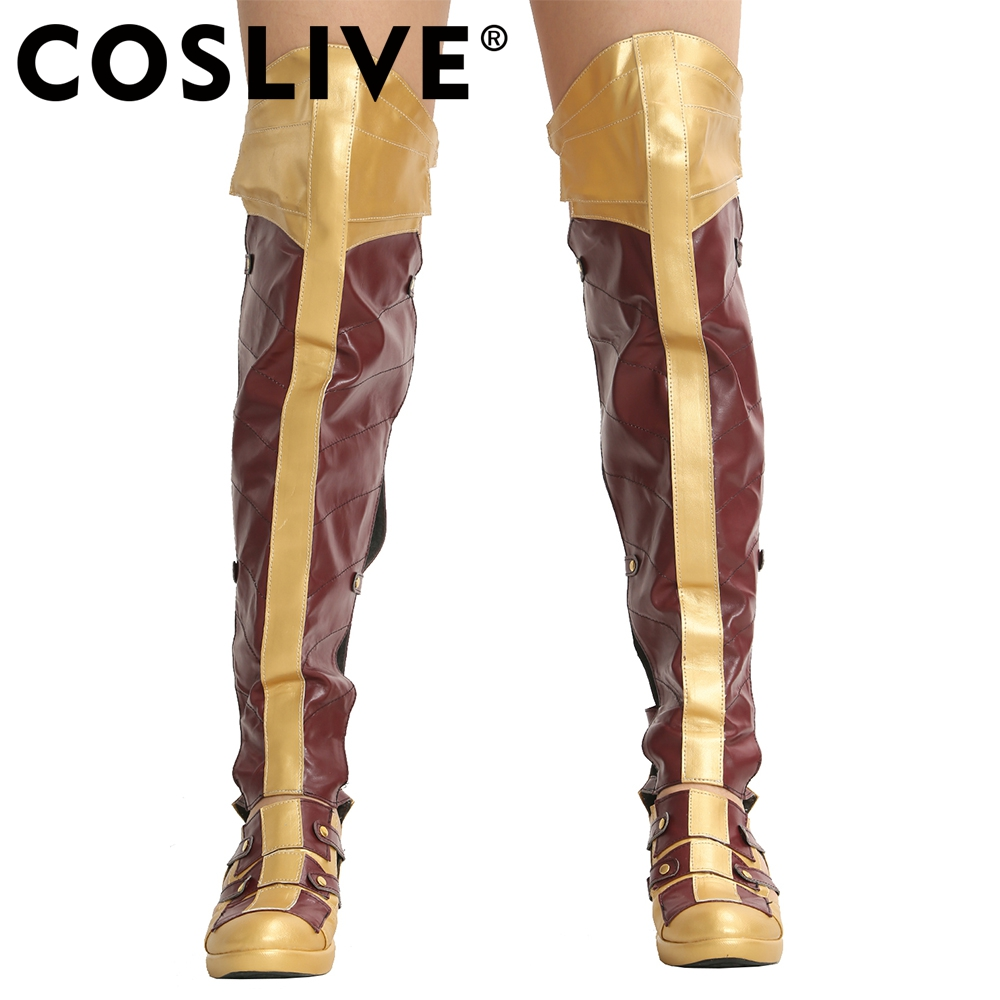 Coslive Wonder Woman Boots Cosplay Props Costume Shoes Women Top Quality PU Faux Leather Long Boots Movie Cosplay Accessories