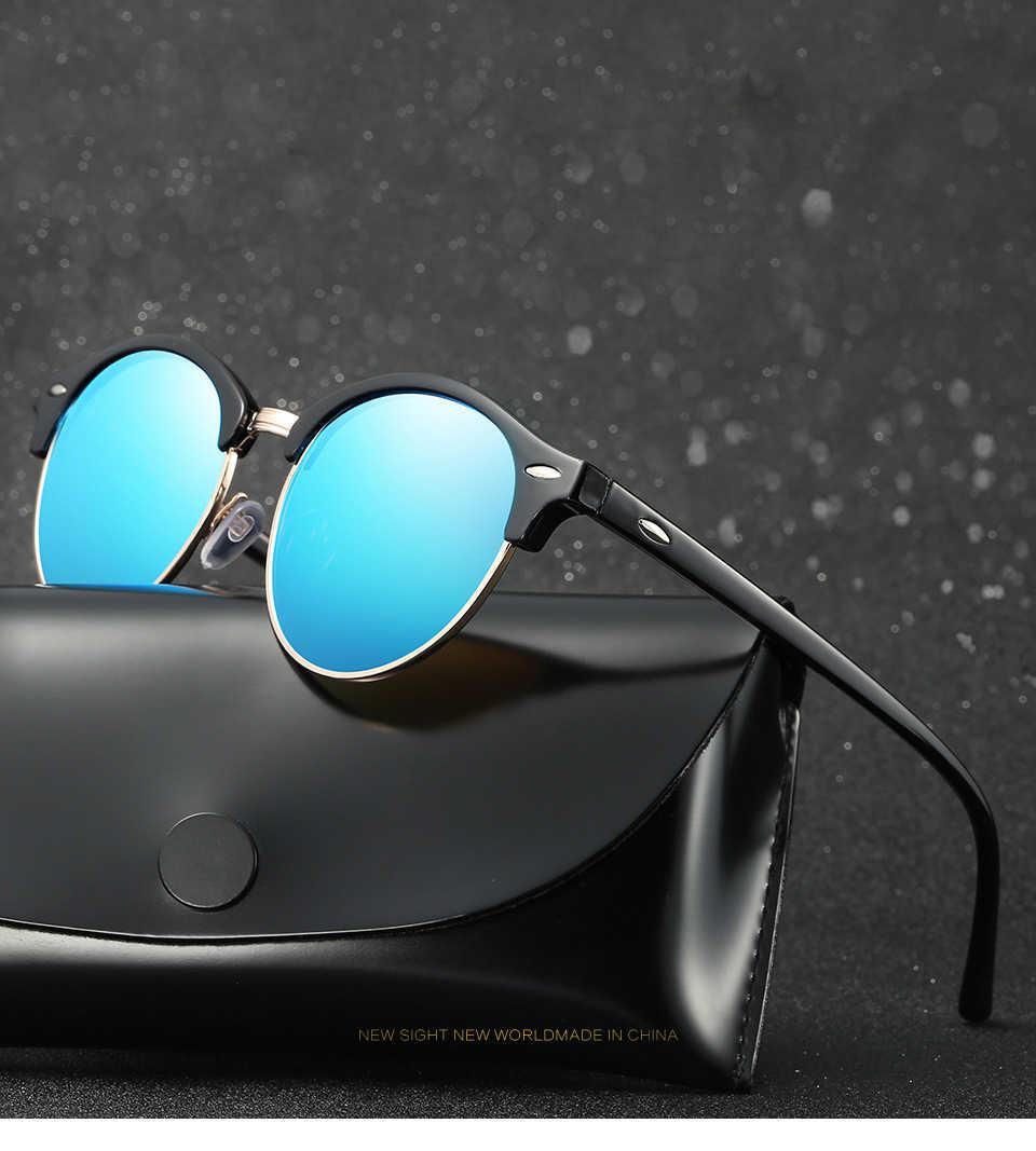1dbe793301 HDSUNFLY Polarized Round Sunglasses Men Women Brand Designer Club Classic  Sun Glasses Driving Semi Rimless Eyewear
