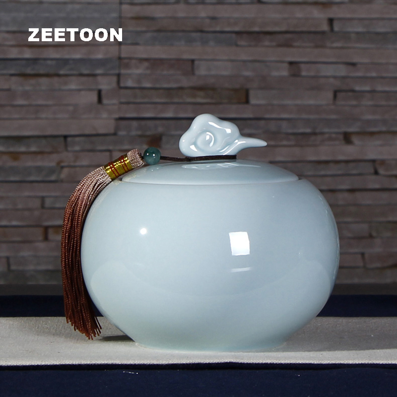 Celadon Porcelain Tea Cans Teaware Seal Storage Tea Caddy Canister Ceramic Nut Candy Canister Coffee Bean Jar Vintage Home Decor