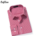 Oufisun 2017 Men Striped Dress GD Shirt Great quality Formal Fashion Long Sleeve Brand Business Men Casual Brand Shirt USA Size